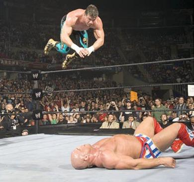 Eddie Guerrero delivers a Frog Splah